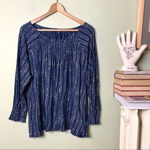 Lucky Brand Peasant Top Smocked Blouse 2X